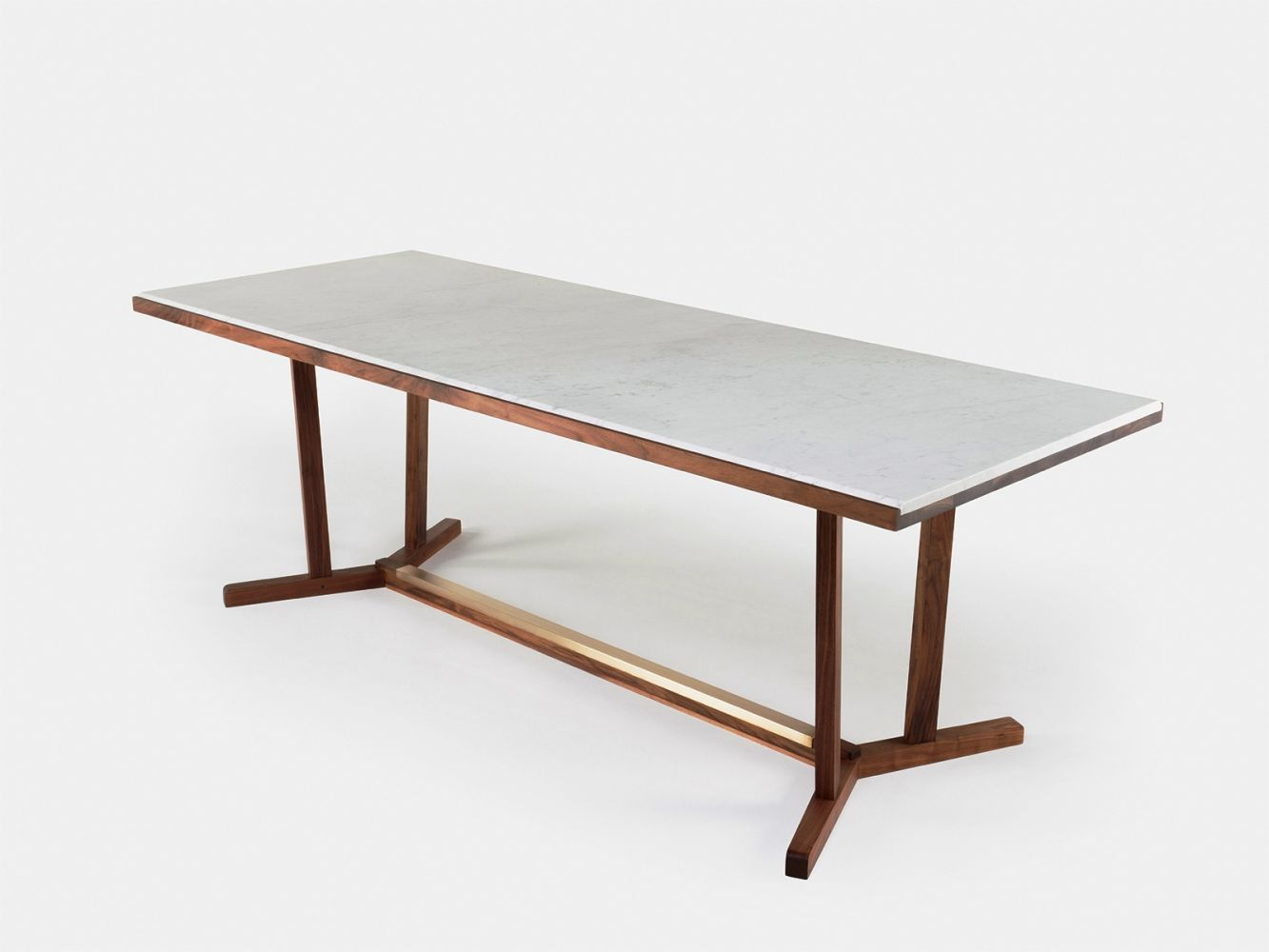 Shaker Dining Table by Neri&Hu in walnut and marble